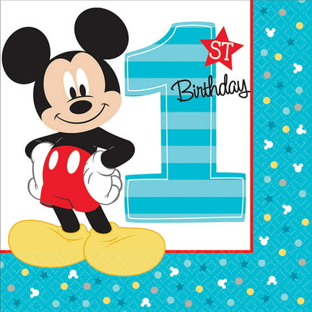 Mickey First Birthday (Disney Mickey Mouse 1st Birthday Lunch Napkins (16)