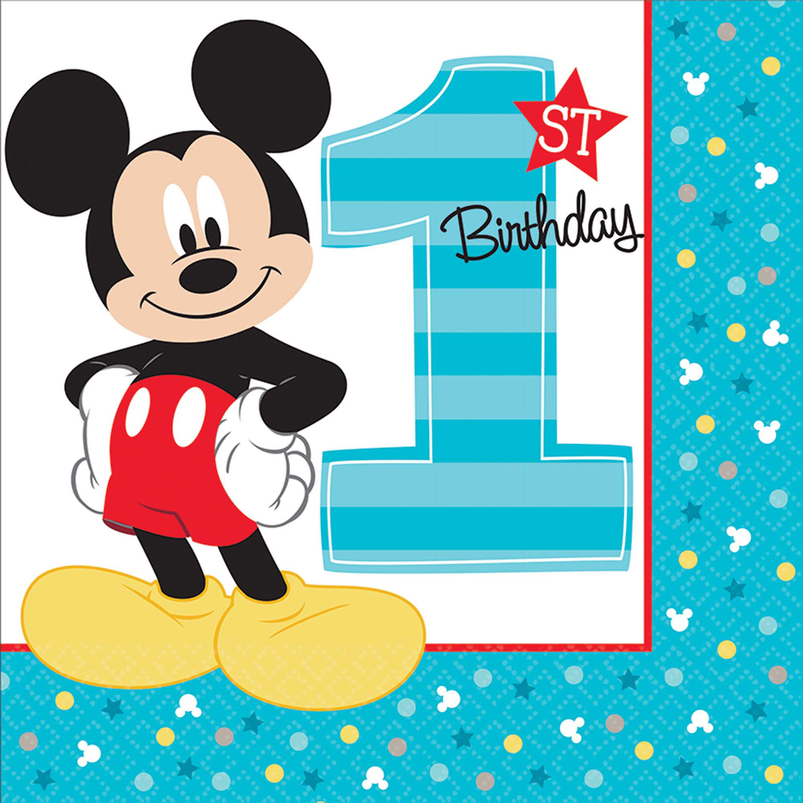 Disney Mickey Mouse 1st Birthday Lunch Napkins (16 Count)