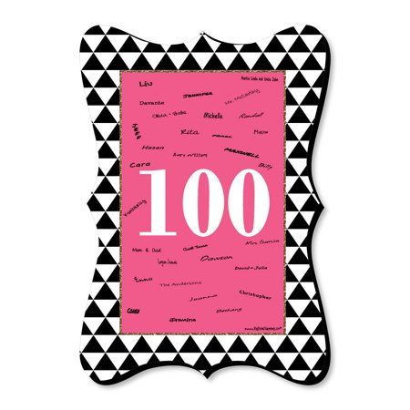 Chic 100th Birthday - Pink, Black and Gold - Unique Alternative Guest Book - Birthday Party Signature Mat](100th Birthday Ideas)