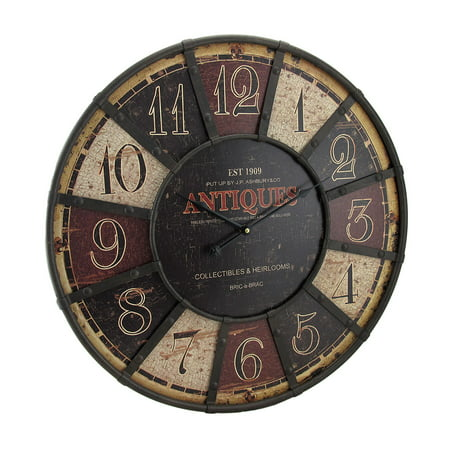 Large Antiques Wall Clock 23 1/2 In.