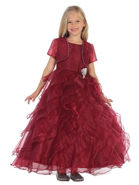 a8de63c45c71 Product Image Angels Garment Girls Burgundy Organza Brooch Bolero Flower  Girl Dress 7-10