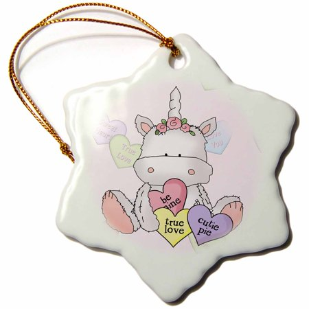 3dRose Cute Valentine Unicorn With Candy Hearts and Conversation Hearts Background, Snowflake Ornament, Porcelain, 3-inch (Snowflake Candy)
