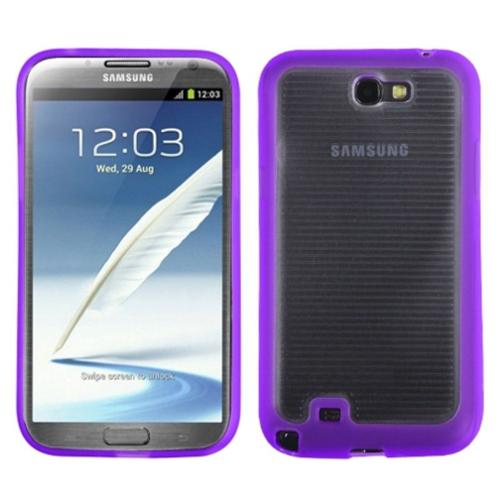 Insten Horizontal Stripes Transparent Clear/Solid Purple Gummy Cover Case for SAMSUNG: Galaxy Note II (T889/I605/N7100)