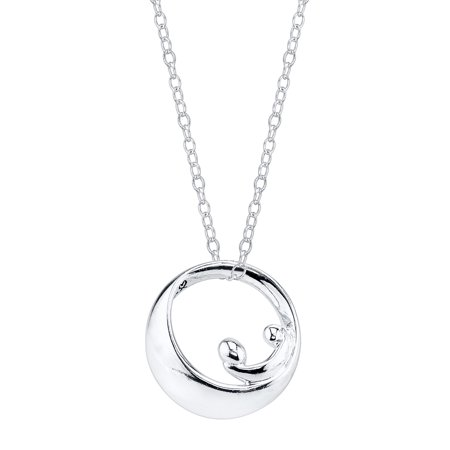 """Sterling Silver Mother-and-Child Silhouette Pendant Necklace, 18"""""""