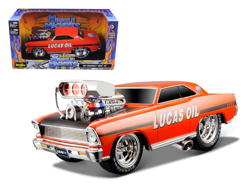"1966 1967 Chevrolet Nova Muscle Machines"" Lucas Oil Orange 1 24 Diecast Model Car by... by Maisto"