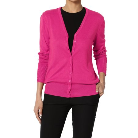 - TheMogan Women's S~XL V-Neck Button Down Long Sleeve Soft Knit Sweater Cardigan
