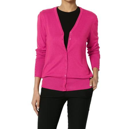 TheMogan Women's S~XL V-Neck Button Down Long Sleeve Soft Knit Sweater Cardigan ()