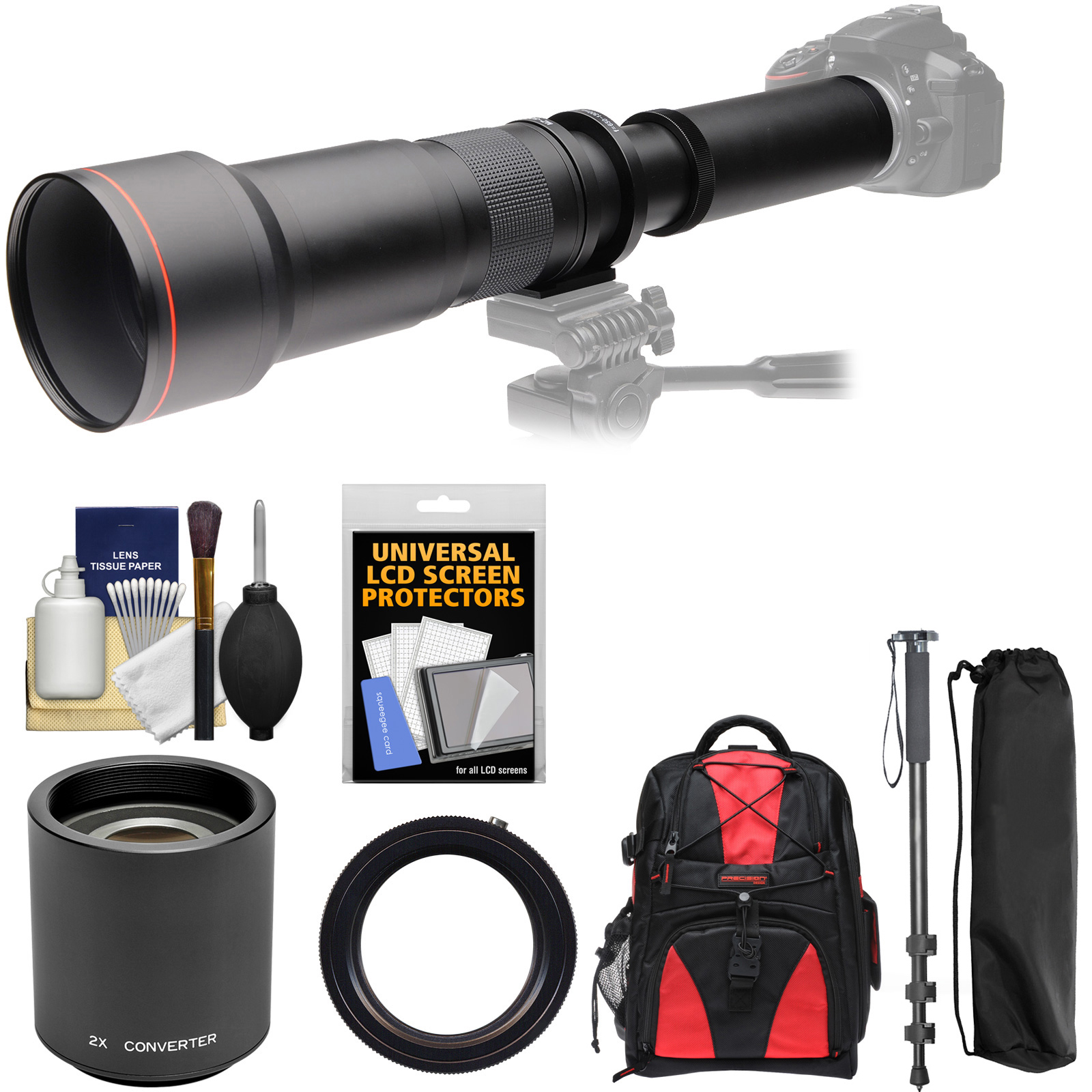 Vivitar 650-1300mm f/8-16 Telephoto Lens with 2x Teleconverter (=2600mm) + Monopod + Backpack + Filter Kit for Canon EOS Rebel SL1, T3, T3i, T5, T5i, 70D, 6D, 7D 5D Mark II III Cameras