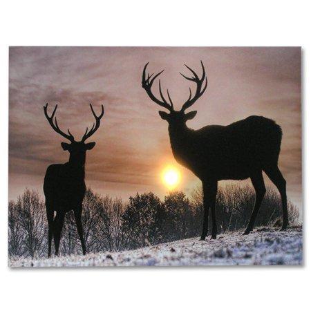 Deer Winter Scene - Light Up Deer Picture - LED Wrapped Canvas Print ()