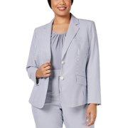 Anne Klein Womens Plus Seersucker Lined Jacket Gray 20W