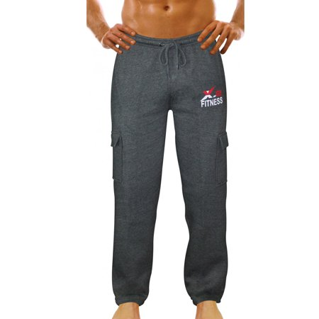 X 2 Mens Fleece Active Joggers Sweatpants Tracksuit Running Athletic Pants 5 Pockets Charcoal Small