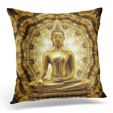 Thai Positioning Pillow - ARHOME White Temple Thai Golden Buddha on Oriental Gold Ancient Pillow Case Pillow Cover 18x18 inch