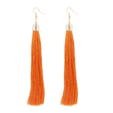 Unique Bargains Ladies Orange Ear Ornament Eardrop Fish Hook Earrings Pair