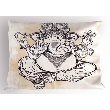Ethnic Pillow Sham Asian Figure In Lotus Pose Holding An Axe Flower