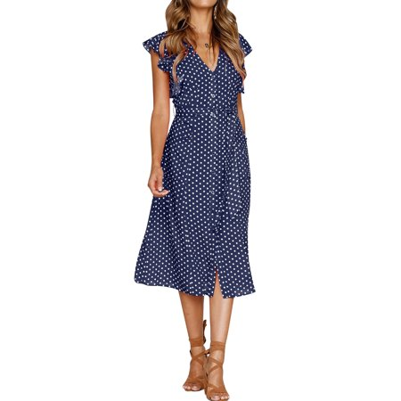 Nlife Women's Button Up Ruffle Sleeveless Polka Dots Midi Dress