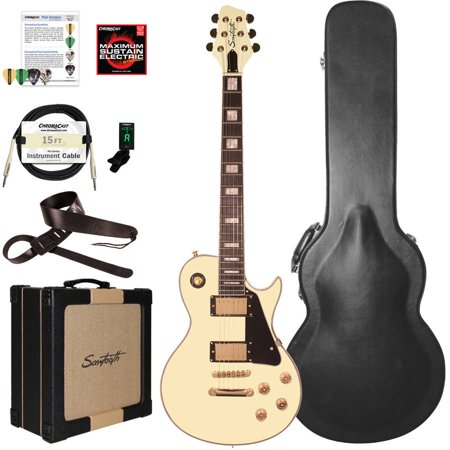 Sawtooth Heritage Series Maple Top Electric Guitar with ChromaCast Pro Series LP Body Style Hard Case, 25W Amp and Accessories, Antique White (box 2 of 2)