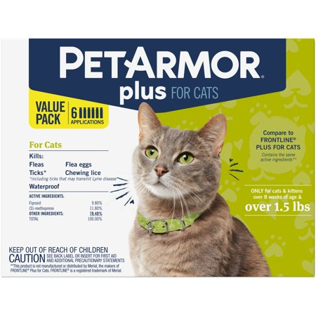 PetArmor Plus Flea & Tick Prevention for Cats (Over 1.5 lbs), 6 (Flea Medicine For Cats With Sensitive Skin)
