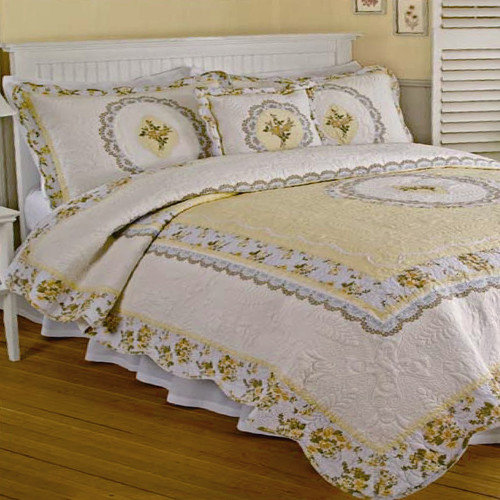 Bundle-01 J&J Bedding Victoria Yellow with Embroidery Quilt Collection (4 Pieces)