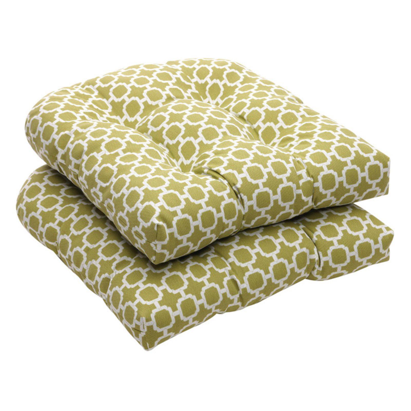 Pillow Perfect Geometric Print Outdoor Wicker Seat Cushions - 19 x 19 x 5 in.