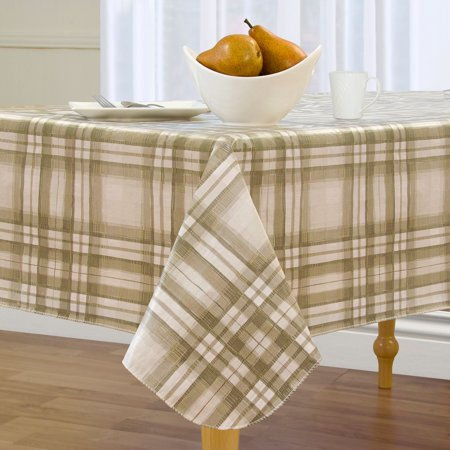 Country Plaid Easy Care Spillproof Vinyl Tablecloth with Polyester Flannel Backing ()