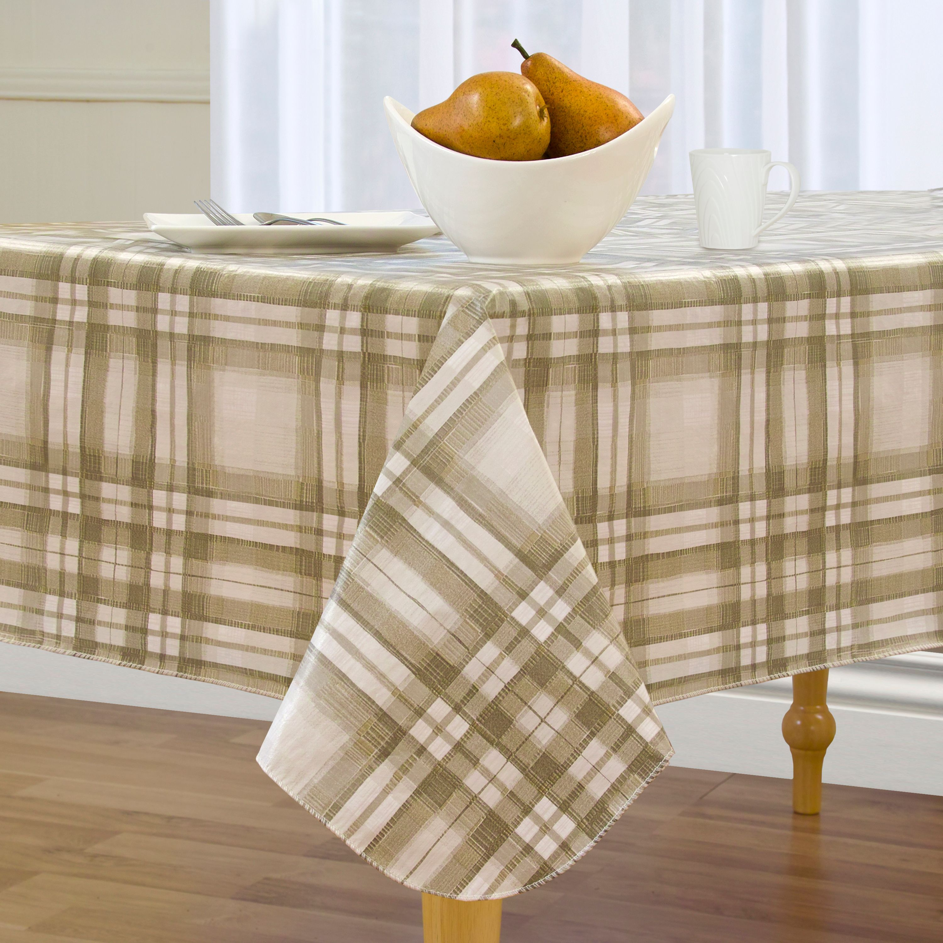 Charmant Country Plaid Easy Care Spillproof Vinyl Tablecloth With Polyester Flannel  Backing