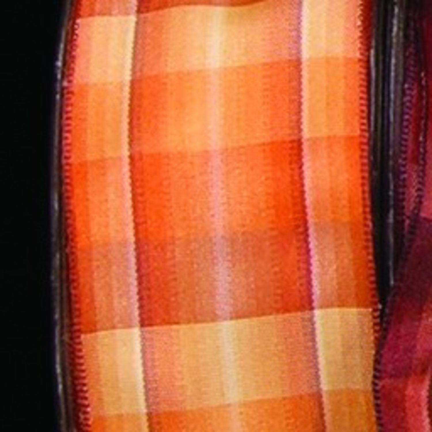 "Orange Ombré Plaid French Wired Craft Ribbon 1.5"" x 27 Yards"