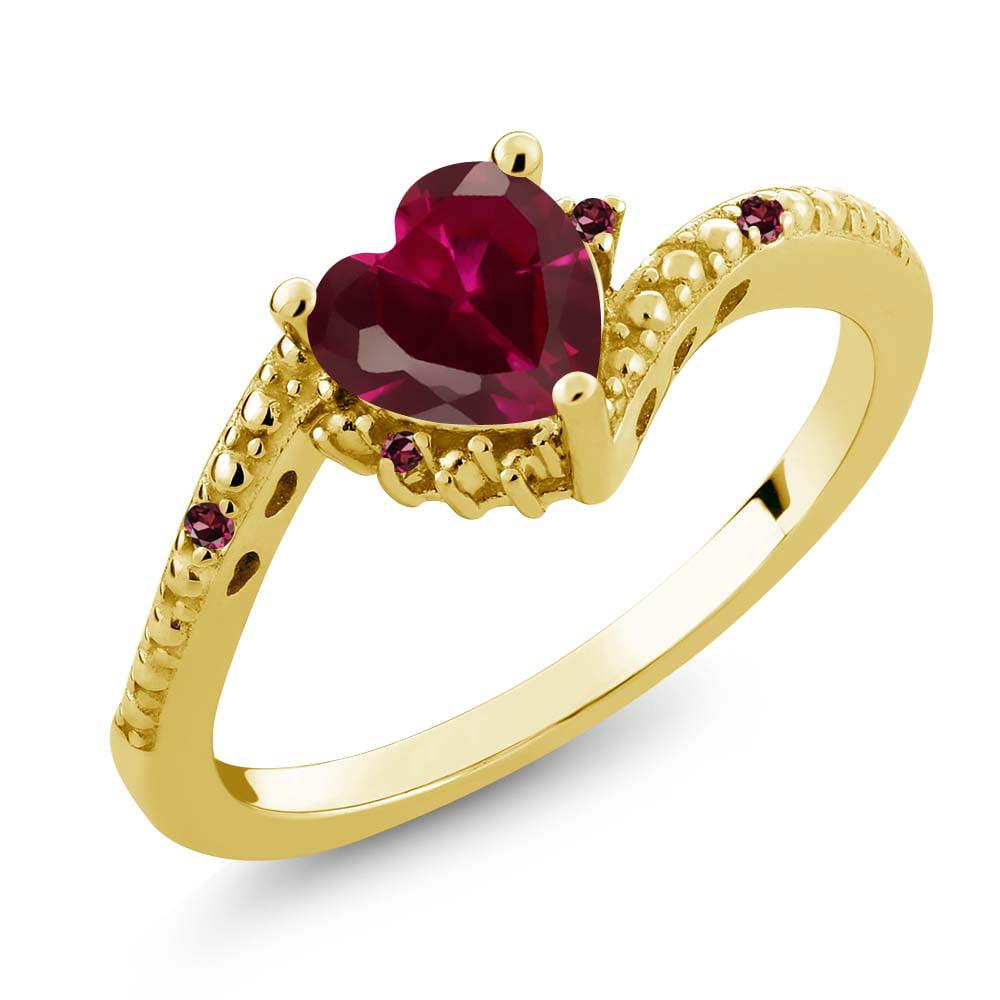 0.99 Ct Heart Shape Red Created Ruby Red Rhodolite Garnet...