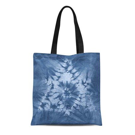 Canvas Indigo Tote (ASHLEIGH Canvas Bag Resuable Tote Grocery Shopping Bags Abstract Tie Dyed of Indigo Color on White Hand Fabrics Shibori Dyeing Tote Bag)