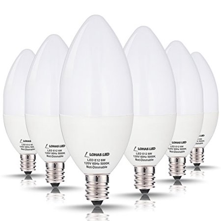 Chandelier 15 Lights 60w Bulb - 60W Equivalent(6W) High Efficiency Light Bulbs, E12 Candelabra LED Light Bulbs, 550Lm, Soft White Light 3000K, Decorative Light Bulb in Pendants, Chandeliers and Decorative Fixtures, 6 Pack