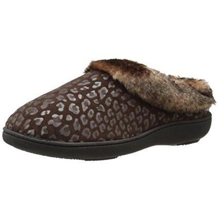 9ea2634a5 Isotoner - Isotoner Womens Microsuede Cheetah Print Clog Slippers -  Walmart.com