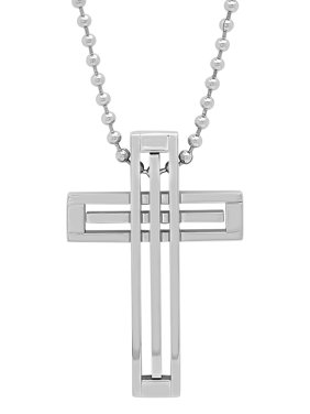 a07c8cb3951 Free shipping. Product Image Men s Stainless Steel Silver Tone Cross Pendant