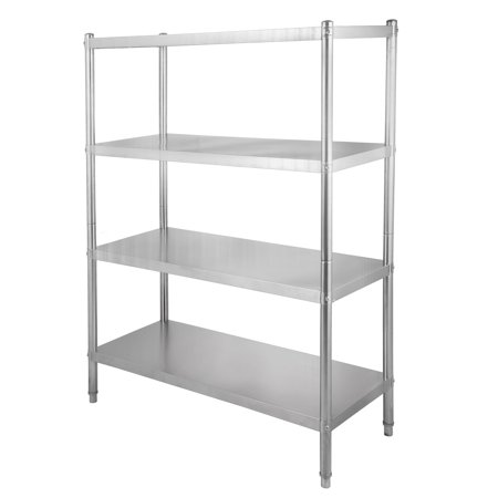BestEquip 4-Tier Shelf Stainless Steel Shelving 330LB Capacity per Shelf Commercial Standing Shelf Unit Display Rack for Kitchen, Office, Garage Storage