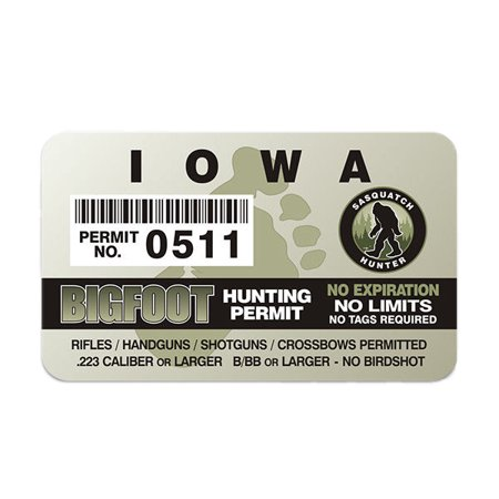 Iowa Bigfoot Hunter Hunting Permit Sticker Sasquatch Vinyl