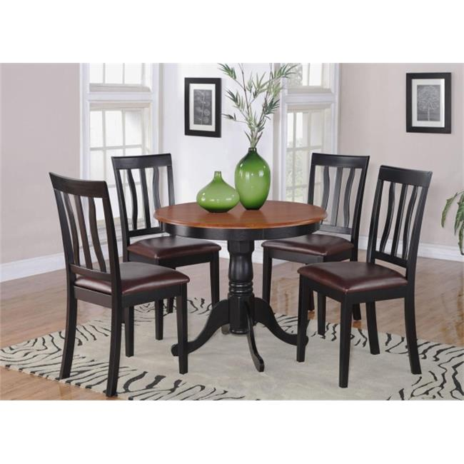 East West Furniture ANTI5-BLK-LC 5 -Piece Antique Round Kitchen 36 in. Table and 4 Chairs with Faux Leather seat