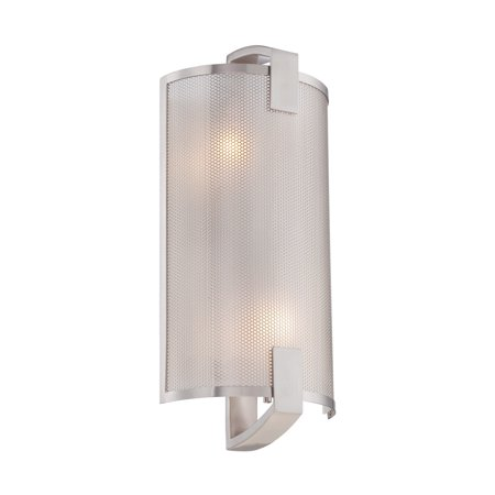 Lite Source Gilmore 2-Light Wall Sconce, Polished Steel Finish with Metal Frame, Frosted Glass Shade Polished Steel Metal