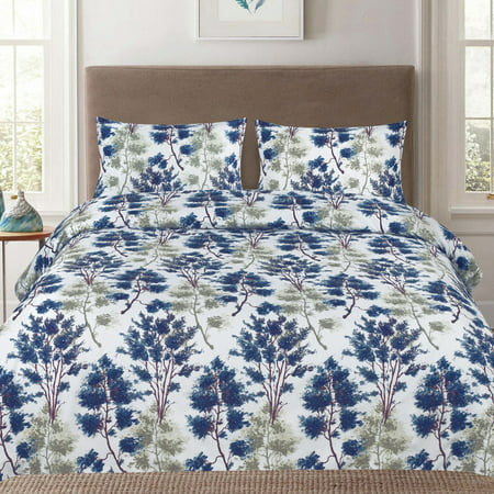 Florence Blue and Green Floral 3-Piece Duvet Cover Set ()