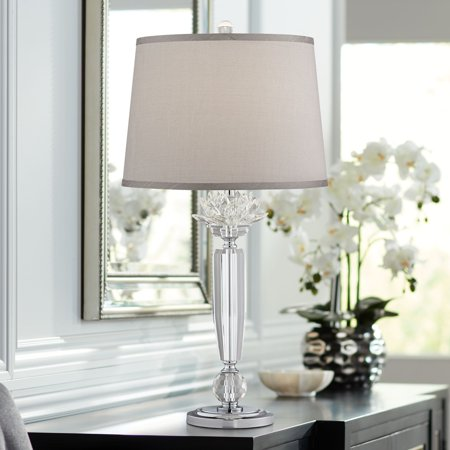 Vienna Full Spectrum Olivia Crystal Table Lamp with Gray Shade