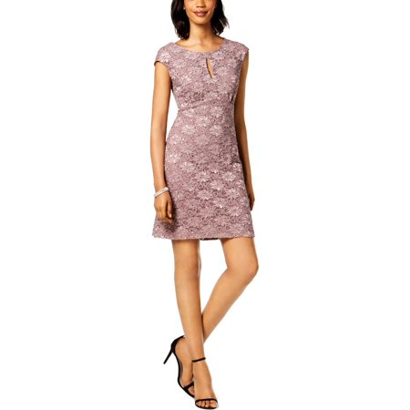 Connected Apparel Womens Petites Lace Sheath Cocktail Dress ()