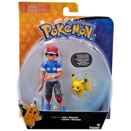 (Pokemon Ash & Pikachu Action Figure [Striped Shirt])