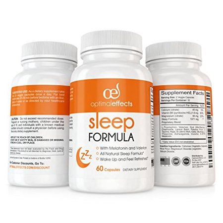 Natural Sleep Aid with Melatonin by Optimal Effects - Sleep Aid and Refresher Supplement - Non Habit Forming Sleeping Pill - Valerian Root, 5-HTP, Chamomile, Lemon Balm & More - 60 Veggie