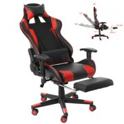 Black&Red Gaming Chair - High Back Racing Computer Desk Office Chair Swivel Ergonomic Executive Leather Chair with Footrest, Headrest Pillow, Lumbar Support