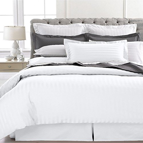 Ultra Soft 1800 Series 3 PC Striped Duvet Set (Full/Queen, White)