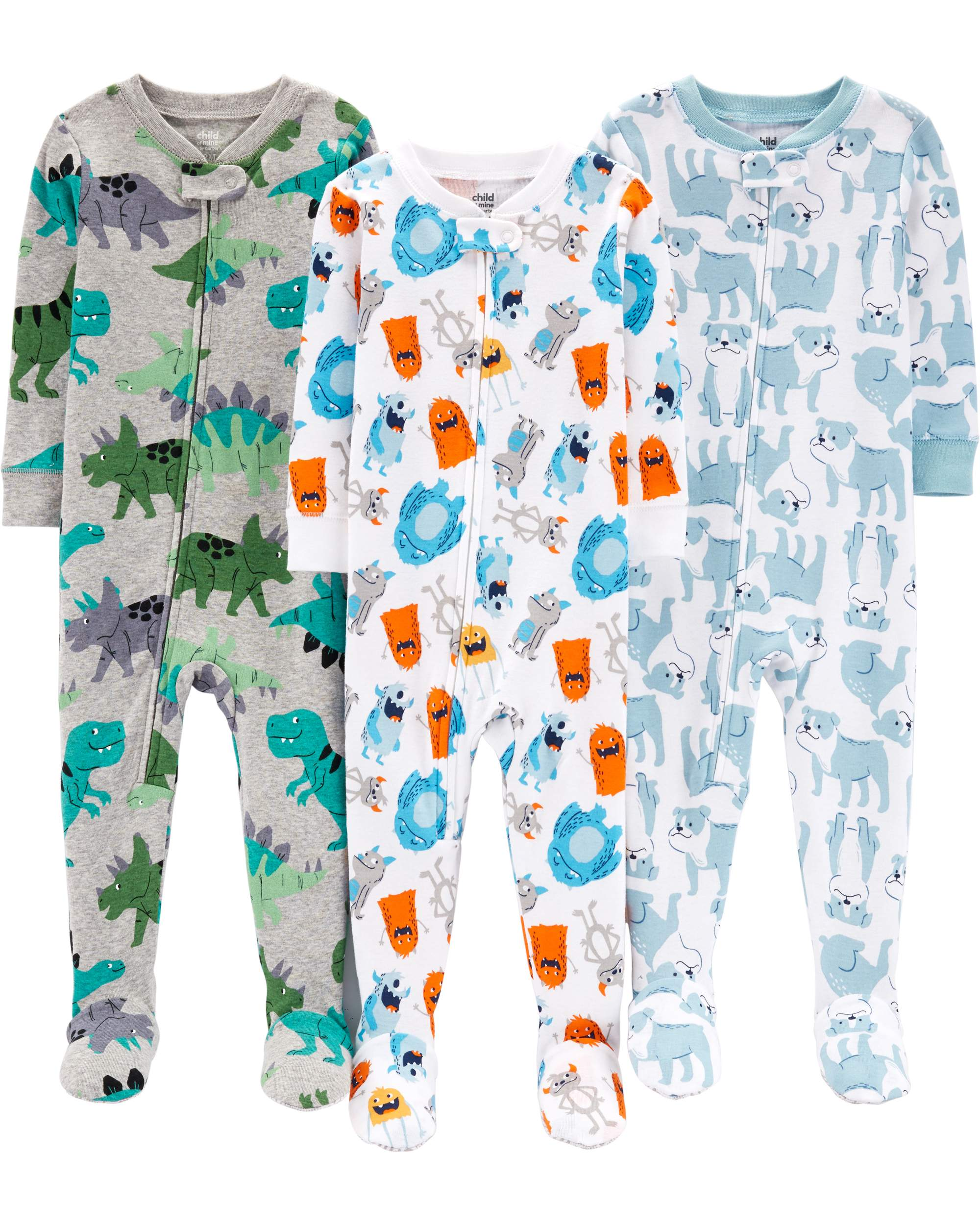 6c4f2c15c Child of Mine by Carter's One piece footed snug fit cotton pajamas, 3pk (baby  boys & toddler boys)