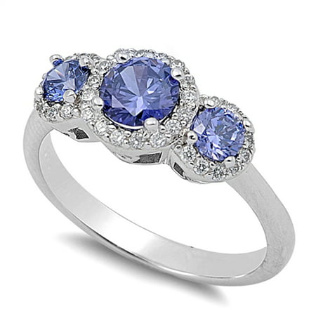 Blue Simulated Sapphire Halo Wedding Ring ( Sizes 3 4 5 6 7 8 9 10 11 12 13 ) New .925 Sterling Silver Band Rings (Size (Cost Of Blue Sapphire Rings In Singapore)