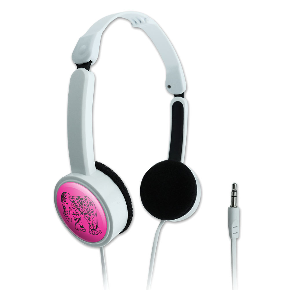 Painted Elephant Ornate India Pink Novelty Travel Portable On-Ear Foldable Headphones