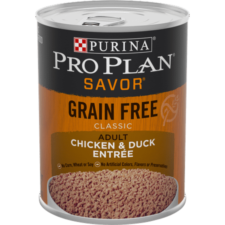 (12 Pack) Purina Pro Plan Grain Free High Protein Wet Dog Food SAVOR Classic Chicken & Duck Entree 13 oz. Cans