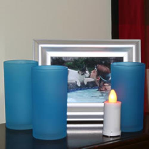 LED Tea Light Blue Frosted Glass Votive (Set Of 3)BlueSiz...
