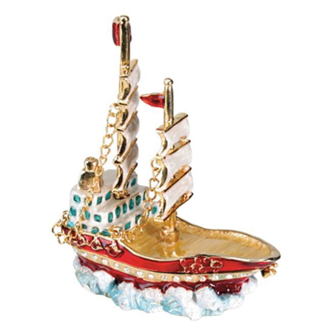 YTC SUMMIT 2188 2 Mast Ship Jeweled Box - C-24
