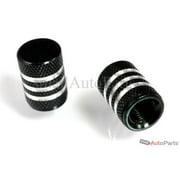 SmallAutoParts Black Aluminum With Chrome Stripes Valve Caps, Set Of 2