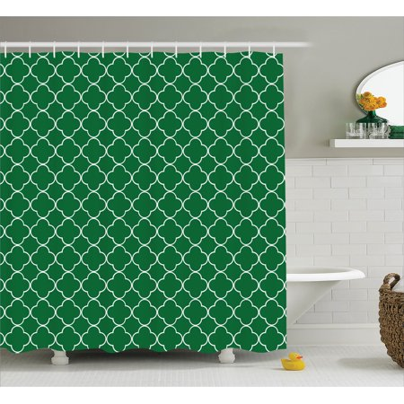 Quatrefoil decor shower curtain four leaf clover on for Quatrefoil bathroom decor